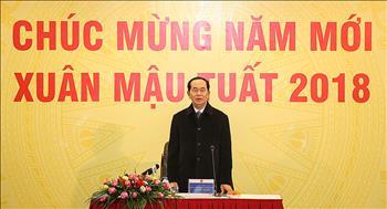 Chủ tịch nước Trần Đại Quang thăm và chúc Tết CBCNV Tập đoàn Điện lực Việt Nam